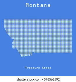 Montana abstract dots map with name of state. Dotted style. Vector illustration