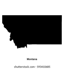 Montana black map,border with name of state