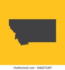 Montana black map,border on orange background. Vector illustration.