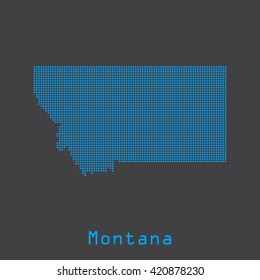 Montana blue abstract dots map. Dotted style. Vector illustration EPS8