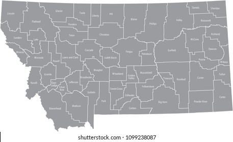 Montana county map vector outline gray background. Map of Montana state of USA with counties borders and names labeled