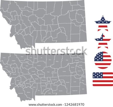Montana County Map Vector Outline Gray Stock Vector Royalty Free
