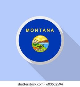 Montana flag in circle shape. Flat style vector image with long shadow