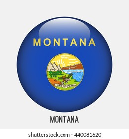 Montana flag in circle shape. Transparent,glossy,glass button