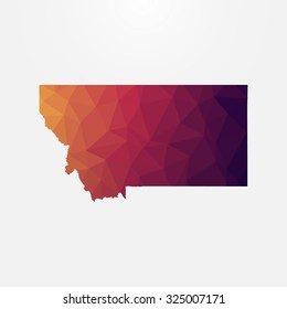Montana in geometric polygonal style.Abstract tessellation,modern design background. Vector illustration EPS10