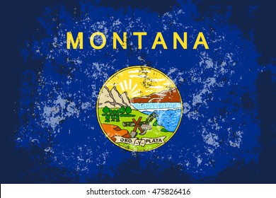 Montana grunge, old, scratched style flag