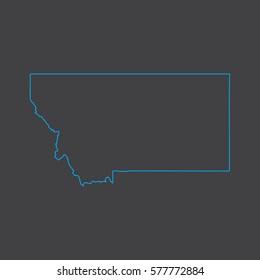 Montana map blue outline stroke line style