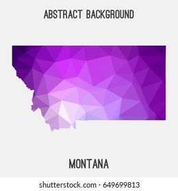 Montana map in geometric polygonal,mosaic style in violet shades.Abstract tessellation,modern design background,low poly. Vector illustration.