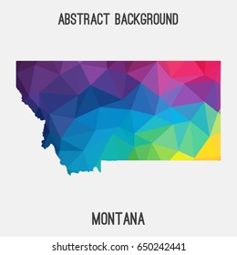 Montana map in geometric polygonal,mosaic style in rainbow colors.Abstract tessellation,modern design background,low poly. Vector illustration.