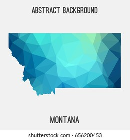 Montana map in geometric polygonal,mosaic style in cold shades.Abstract tessellation,modern design background,low poly. Vector illustration.