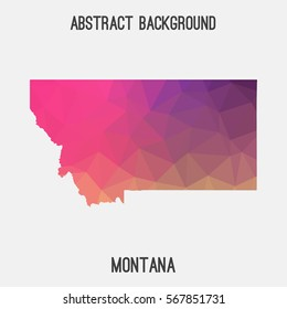 Montana map in geometric polygonal,mosaic style.Abstract tessellation,modern design background. Vector illustration EPS8