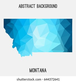Montana map in geometric polygonal,mosaic style.Abstract tessellation,modern design background,low poly. Vector illustration.