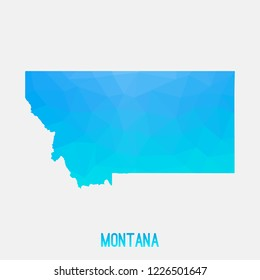 Montana map low poly geometric polygonal,mosaic style,abstract tessellation,modern design background. Geometric cover, mockup. Vector illustration EPS10.