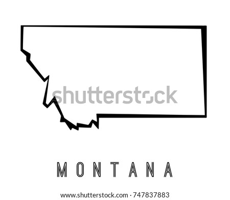 montana map outline us state shape stock vector royalty free