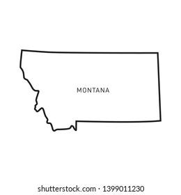 Montana Map Outline Vector Design Template. Editable Stroke