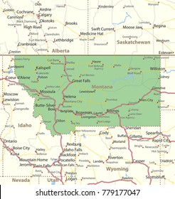 Montana map. Shows state borders, urban areas, place names, roads and highways.