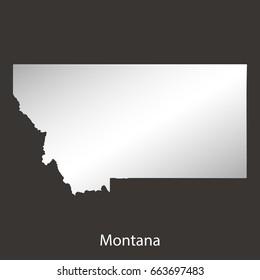 Montana map,border with chrome,metal shine gradient. Vector illustration
