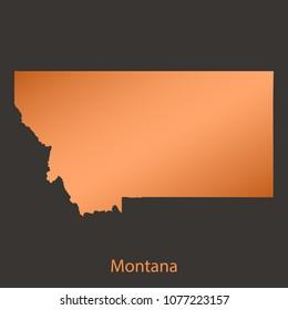 Montana map,border with chrome,orange,copper metal shine gradient. Vector illustration