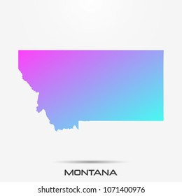 Montana map,border with pink and turquoise gradient. Vector illustration