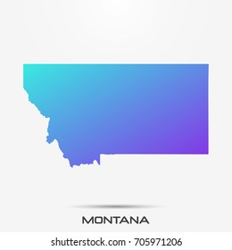 Montana map,border with purple,turquoise gradient. Vector illustration