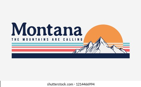 Montana mountain illustration, outdoor adventure . Vector graphic for t shirt and other uses.