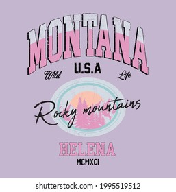 Montana mountains Illustration Print with Slogan - Hand Drawn Vector - Mountains and sunset Sketch with slogan print -Fashion graphic tee pattern