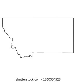 Montana MT state Maps. Black silhouette and outline isolated on a white background. EPS Vector