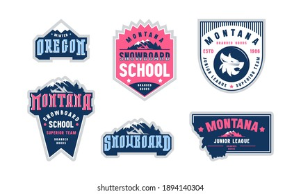 Montana and Oregon snowboarding emblem set. Graphic design for sticker and t-shirt. Color print on white background