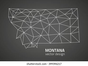 Montana outline grey vector map