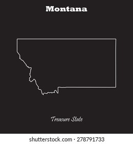 Montana outline map, stroke. Name of state. Line style. Vector EPS8