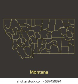 Montana outline,stroke of map with administrative division. Vector illustration