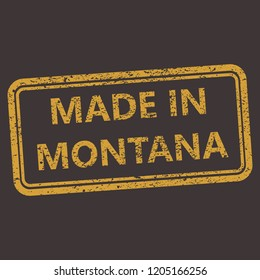 Montana rubber stamp with grunge old distressed aged texture. Orange seal of  production location