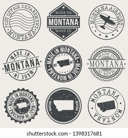 Montana Set of Stamps. Travel Stamp. Made In Product. Design Seals Old Style Insignia.