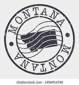 Montana Stamp Postal. Map Silhouette Seal. Passport Round Design. Vector Icon. Design Retro Travel.