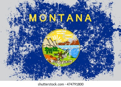 Montana state grunge, old, scratched style flag