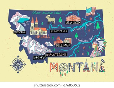 Montana State illustrated map. Travel and attractions