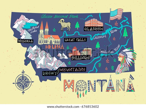 Montana State Illustrated Map Travel Attractions Stock ...
