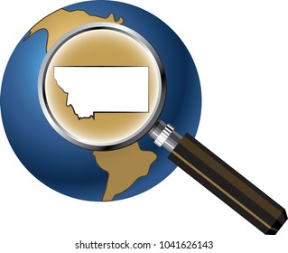 Montana State Map Enlarged with Magnifying Glass on Globe