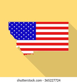 Montana state map in style of USA national flag. Flat style with long shadow