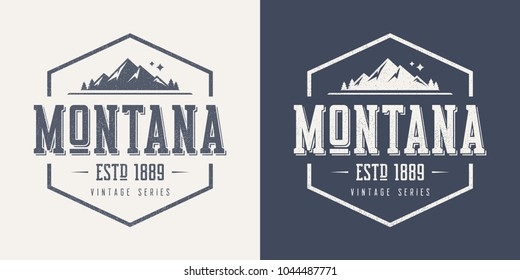 Montana state textured vintage vector t-shirt and apparel design, typography, print, logo, poster. Global swatches.