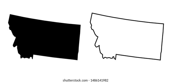 Montana State - USA Blank Map Vector Template Silhouette Black Color and Outline Isolated on White Background