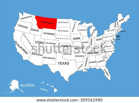 Montana State Usa Vector Map Isolated Stock Vector Royalty Free