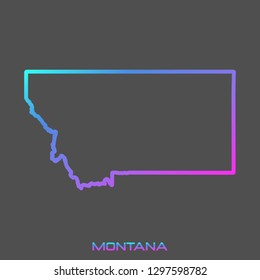 Montana turquoise pink fluid gradient outline map, stroke. Line style. Vector illustration