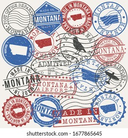 Montana, USA Set of Stamps. Travel Passport Stamps. Made In Product. Design Seals in Old Style Insignia. Icon Clip Art Vector Collection.