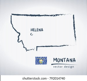 Montana vector chalk drawing map isolated on a white background