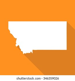 Montana white map,border flat simple style with long shadow on orange background