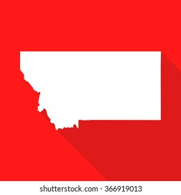 Montana white map,border flat simple style with long shadow on red background