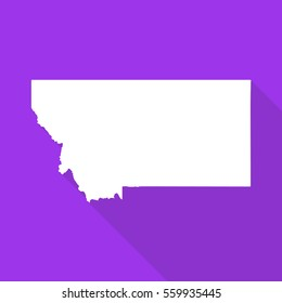 Montana white map,border flat simple style with long shadow on purple background