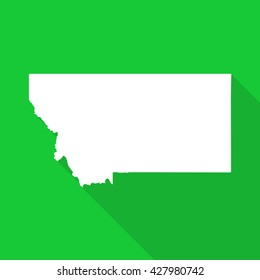 Montana white state map,border flat simple style with long shadow on green background
