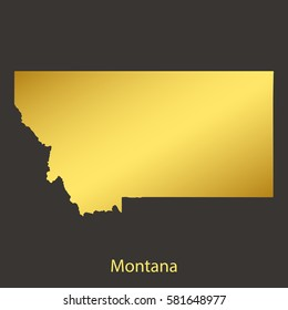 Montanamap,border with golden gradient. Vector illustration